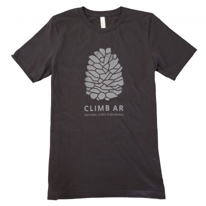 Rock climbing Arkansas pinecone tee shirt by Natural State Publishing